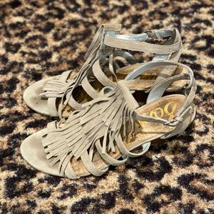 Sam Edelman gray suede fringed sandals